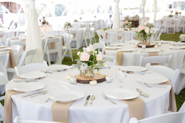 tables under tent tree slice centerpiece - L&L Farm Outdoor Wedding ...